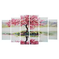 Картина модульная на подрамнике 'Дерево Сакуры' 2-25*57,52-25*74,52-25*84,5, 150*84,5см