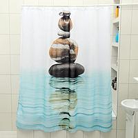 Штора для ванной комнаты Доляна 'Камни на воде', 180x180 см, полиэстер