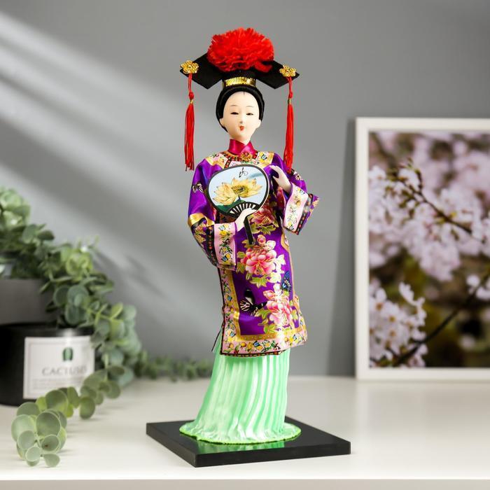 Кукла коллекционная 'Китаянка в национальном платье с опахалом' 32х12,5х12,5 см - фото 1