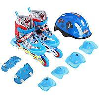 Роликовые коньки Hot Wheels, PU колёса со светом, в комплекте с защитой и шлемом, размер M (34-37)