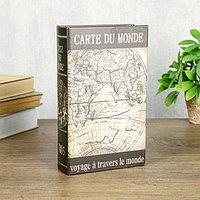 Сейф-книга дерево кожзам 'Карта странствий' 21х13х5 см