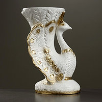 Фигура - подставка 'Жар птица' белое золото 39х32х52см
