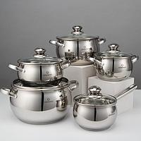 Набор посуды 'Сильвер', 3 предметов кастрюли 2,1 л, 2,9 л, 3,9 л, 6,6 л, сотейник 2,1 л, хромированные ручки