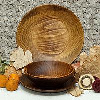 Набор тарелок из натуральной пихты Magistro, 3 шт, d25 см, 20,5 см, 18 см, цвет коричневый