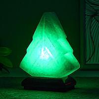 Соляной светильник 'Елка' LED (диод цветной) USB белая соль 10х7х13 см