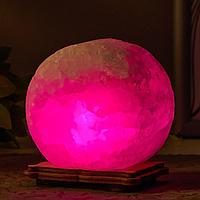 Соляной светильник 'Круг' LED (диод цветной) USB белая соль 12,5*5*10 см