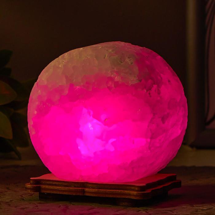 Соляной светильник 'Круг' LED (диод цветной) USB белая соль 12,5*5*10 см - фото 1