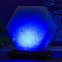 Соляной светильник 'Гайка' LED (диод цветной) USB белая соль 10х7х10 см