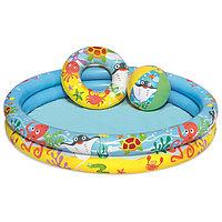 Бассейн надувной 'Рыбки', 3 предмета бассейн, мяч, круг, 122 х 20 см, от 2 лет, 51124 Bestway