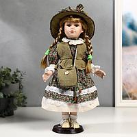 Кукла коллекционная керамика 'Маша в зелёном платье в цветочек' 40 см