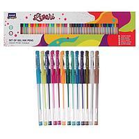 Набор гелевых ручек Mazari Lipari, 50 цветов 4 основных, 10 флуоресцентных, 10 пастельных, 12 металлик, 14 с