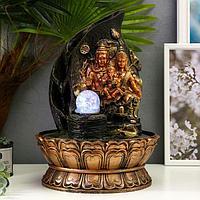 Фонтан настольный от сети, подсветка 'Ганеша, Шива и Парвати' 40х27х27 см
