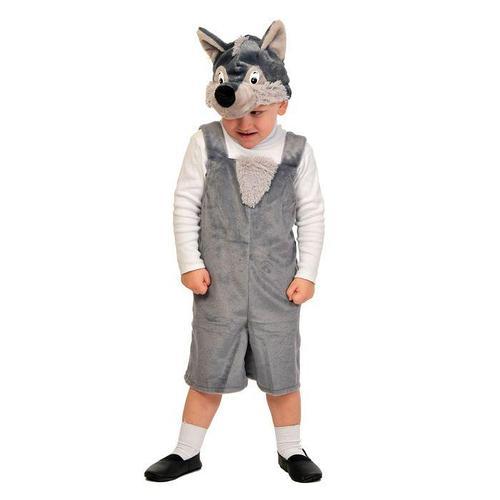 Карнавальный костюм 'Волчонок' плюш, полукомбинезон, маска, рост 92-122 см, 3002