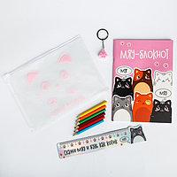 Набор в папке 'МЯУ', творческий блокнот, закладка - линейка, брелок,карандаши