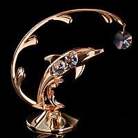 Сувенир с кристаллами Swarovski 'Дельфин на волне' с прозрачными камнями 14х12,5 см