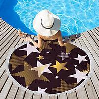 Полотенце пляжное Этель 'Золотые звёзды', d 150см