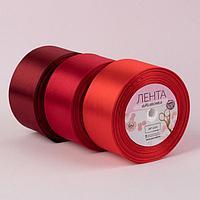 Набор атласных лент, 3 шт, размер 1 ленты 50 мм x 23 ± 1 м, цвет красный спектр