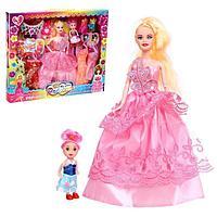 Кукла-модель шарнирная 'Карина' с малышкой, с набором платьев и аксессуарами, МИКС