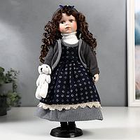 Кукла коллекционная керамика 'Настя в синем платье и сарафане в кружочек' 40 см