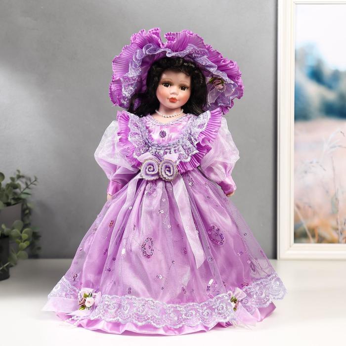 Кукла коллекционная керамика 'Леди Беатрис в сиреневом платье' 40 см - фото 1