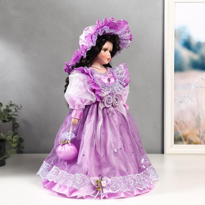Кукла коллекционная керамика 'Леди Беатрис в сиреневом платье' 40 см - фото 2