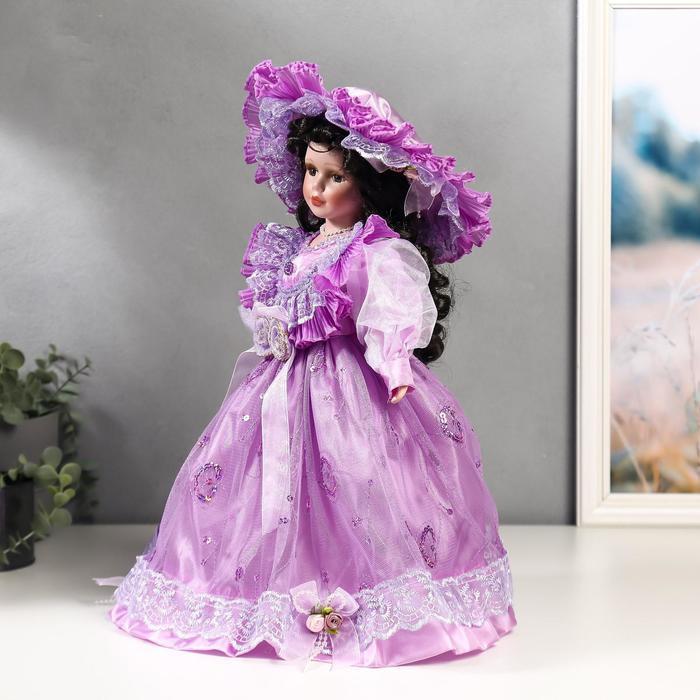 Кукла коллекционная керамика 'Леди Беатрис в сиреневом платье' 40 см - фото 3