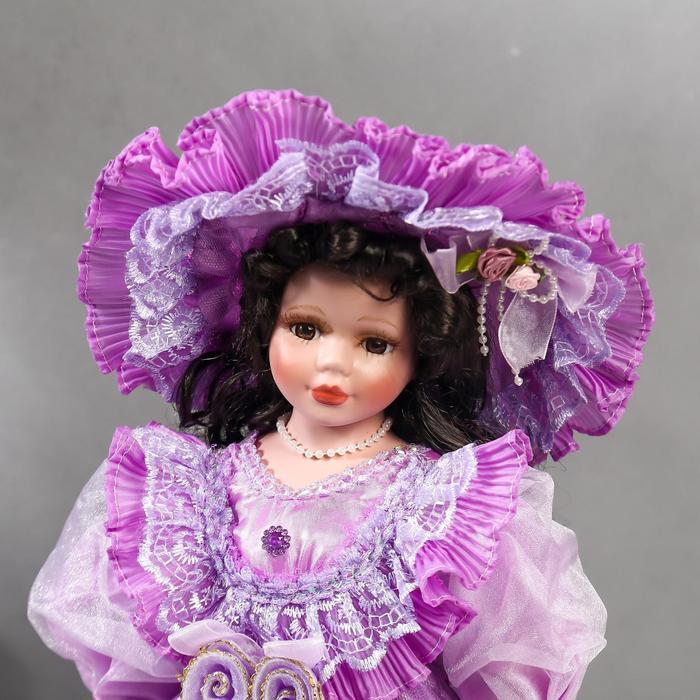 Кукла коллекционная керамика 'Леди Беатрис в сиреневом платье' 40 см - фото 5