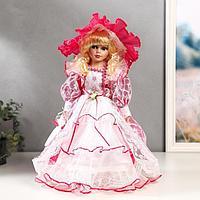 Кукла коллекционная керамика 'Леди Виктория в розовом платье' 40 см