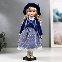 Кукла коллекционная керамика 'Женя в синем платье и бархатном пиджаке' 40 см