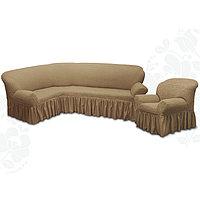 Чехол для мягкой мебели 2пред диван угловой, кресло 6082, трикот, 100 п/э