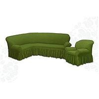 Чехол для мягкой мебели 2пред диван угловой, кресло 6016, трикот, 100 п/э
