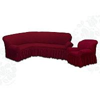 Чехол для мягкой мебели 2пред диван угловой, кресло 6055, трикотаж, 100пэ,