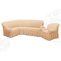 Чехол для мягкой мебели 2пред диван угловой, кресло 6084, трикотаж, 100пэ,