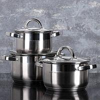 Набор посуды 'Мини', 3 предмета 3,4 л, 2,9 л, 1,6 л, стеклянные крышки