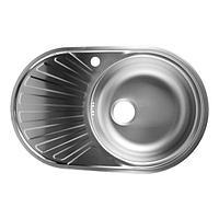 Мойка кухонная 'Владикс', врезная, с сифоном, 77х48 см, правая, нержавеющая сталь 0.6 мм