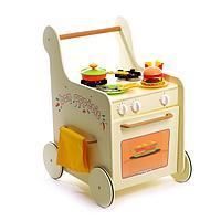 Детская игровая тележка-каталка с набором посуды 'Гриль Мастер' жёлтая