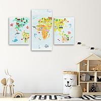 Модульная картина 'Карта', детская, 30 х 60 см