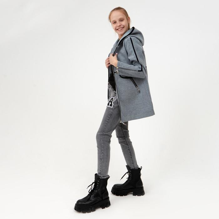 Пальто для девочки, цвет серый, рост 140 см - фото 1