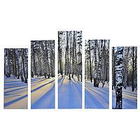 Картина модульная на подрамнике 'Зимний пейзаж' 125х80 см (2-25х63, 2-25х70, 1-25х80)