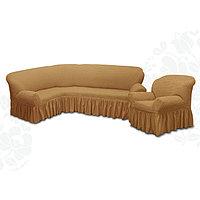 Чехол для мягкой мебели 2пред диван угловой, кресло 6083, трикот, 100пэ,