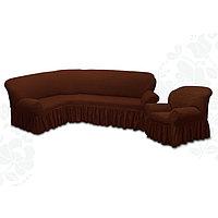 Чехол для мягкой мебели 2 пред диван угловой, кресло 6057, трикот, 100пэ,