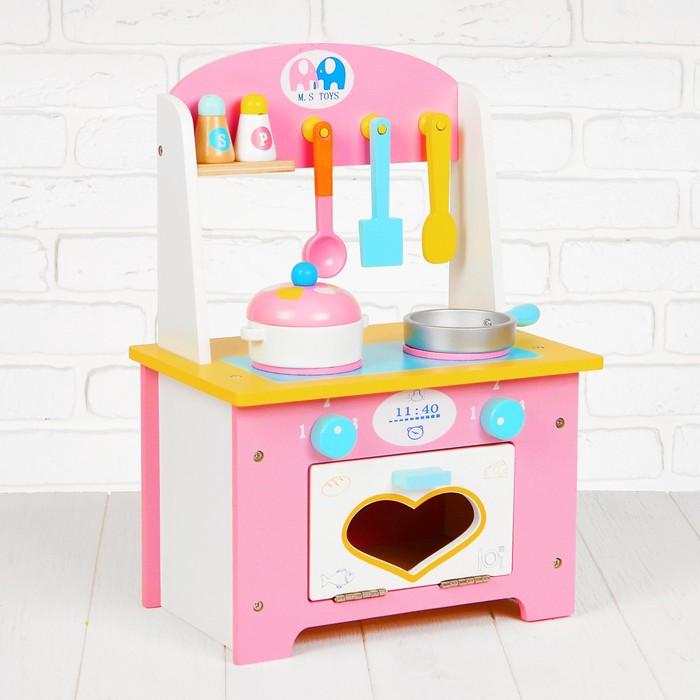 Игровой набор 'Кухня с сердечком', деревянная посуда в наборе - фото 1
