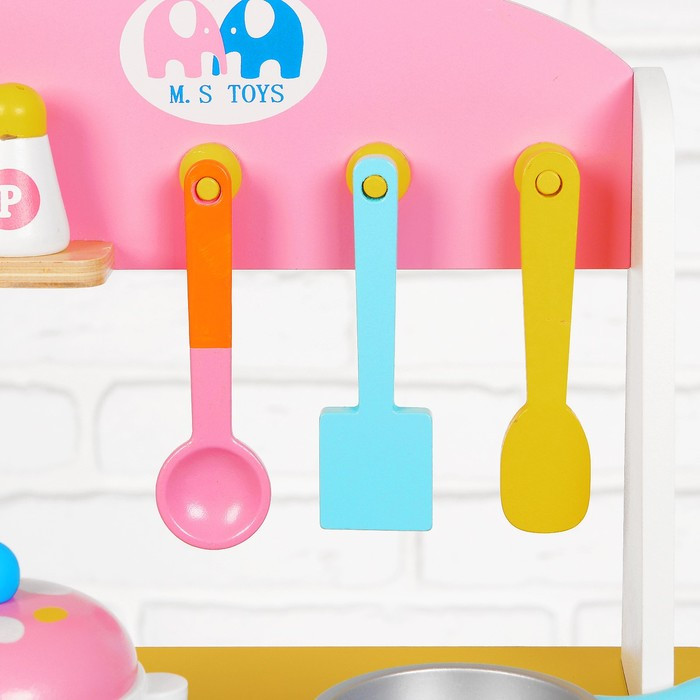 Игровой набор 'Кухня с сердечком', деревянная посуда в наборе - фото 4