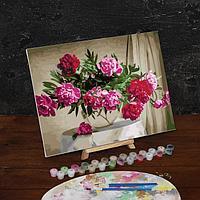 Картина по номерам на холсте с подрамником 'Букет в стеклянной вазе', 40х30 см