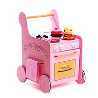 Детская игровая тележка-каталка кухня с посудой 'Гриль Мастер для девочек' розовая