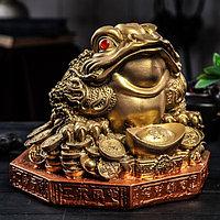 Копилка 'Жаба на деньгах', глянец, бронзовый цвет, 22 см, микс