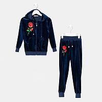 Костюм для девочки, цвет тёмно-синий, рост 98 см
