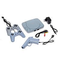 Игровая приставка LuazON Game-1, 8 бит, в комплекте 2 джойстика и пистолет, 22 игры, серая