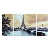 Картина модульная на стекле 'Париж' 2-25*50,1-50*50см, 100*50см