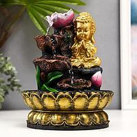 Фонтан настольный от сети 'Золотой будда и фонтан с цветами' 27х20,5х20,5 см